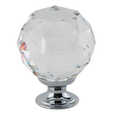 Aglio Cut Glass Cabinet Knob - 40mm - Polished Chrome)