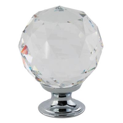 Aglio Cut Glass Cabinet Knob - 40mm - Polished Chrome)