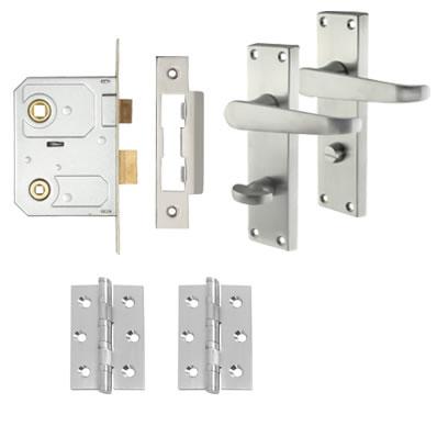 Aglio Victorian Handle Door Kit - Bathroom Lock Set - Satin Chrome