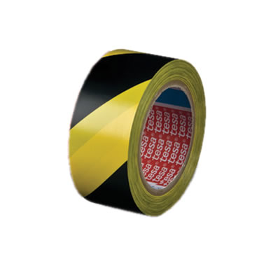 Tesa 60760 PVC Hazard Wanring Floor and Lane Marking Tape - 50mm x 33m - Black / Yellow)