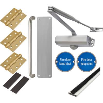 Light Duty Pull Handle Fire Door Kit - Stainless Steel
