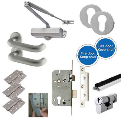 Light Duty Lever Door Handle on Rose Fire Door Kit - Euro Sashlock - Aluminium