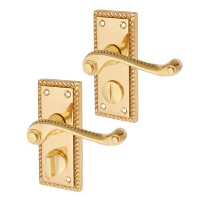 Aglio Georgian Door Handle - Privacy Set - Polished Brass