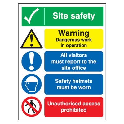 Site Safety Notice/Warning Dangerous Work In Operation - 800 x 600mm)