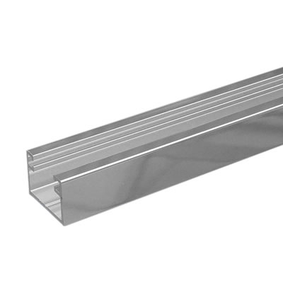 Dry Glazing Channel - 8mm Glass - Polished Aluminium)