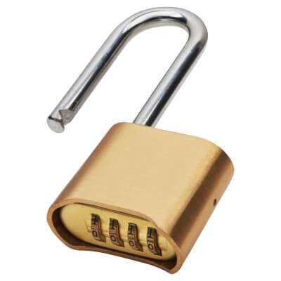 Industrial Combi Long Shackle Padlock - 50mm - Brass