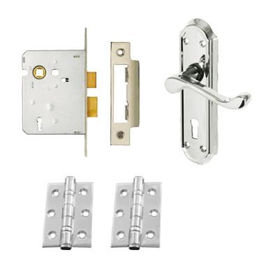 Aglio Ashmead Handle Door Kit - Keyhole Lock Set - Polished Chrome