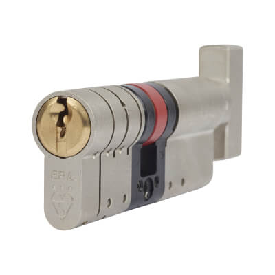 ERA 3 Star Fortress Cylinder - Euro Thumbturn - Length 80mm - 45[k]* + 35mm - Nickel and Brass