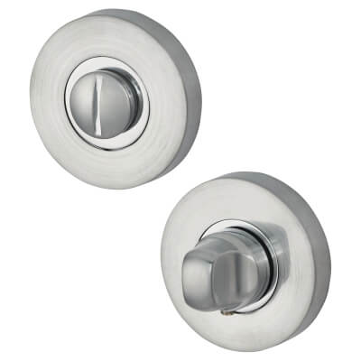 Jigtech Round Bathroom Turn & Release Set - Polished/Satin Chrome)
