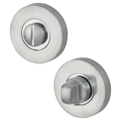 Jigtech Round Bathroom Turn & Release Set - Polished/Satin Chrome