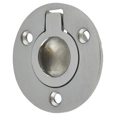 Round Flush Ring Pull - 38mm - Satin Chrome