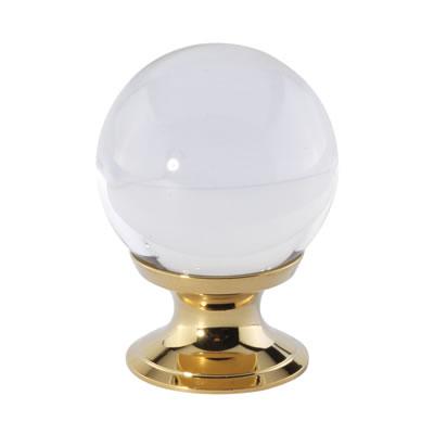 Aglio Ball Glass Cabinet Knob - 30mm - Polished Brass