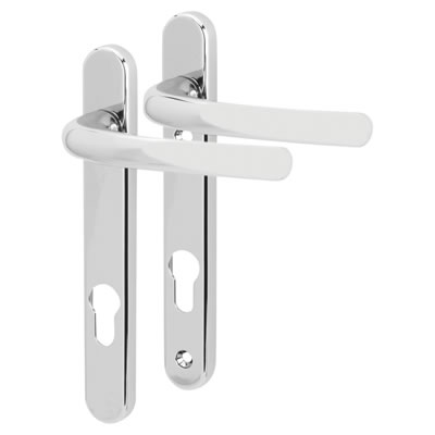 Fab & Fix Windsor Multipoint Lever/Lever Door Handle - uPVC/Timber - 92mm centres - Bright Chrome)