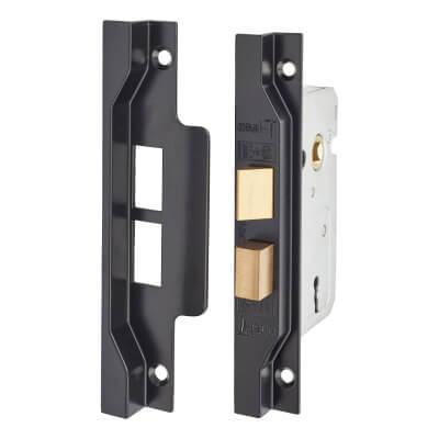 2 Lever Pre Rebated Sashlock - 64mm Case - 44mm Backset - Black