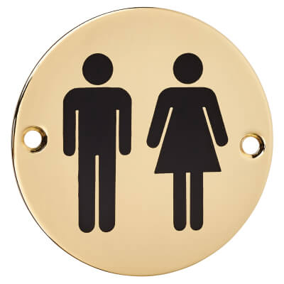 Unisex Toilet Door Sign - 75mm - Polished Brass)