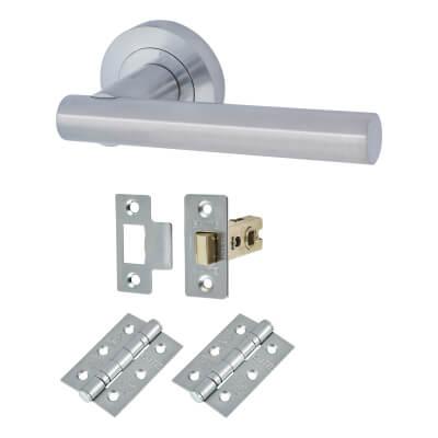 Touchpoint Bella Lever Door Handle on Rose - Door Kit - Satin Chrome  sc 1 st  Ironmongery Direct & Door Furniture   Door Handles   IronmongeryDirect