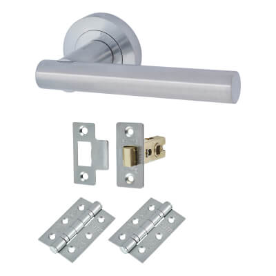 Touchpoint Bella Lever Door Handle on Rose - Door Kit - Satin Chrome)