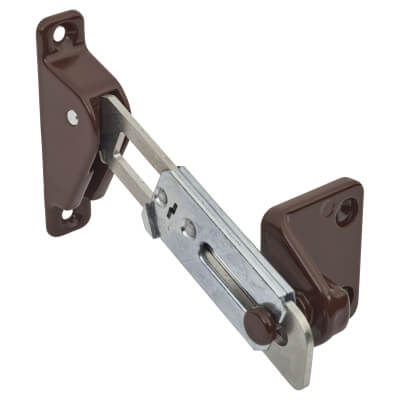 Surface Mounted uPVC/Timber Window Restrictor - Left Hand - Brown