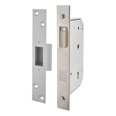 UNION® 3R35X 5 Detainer Escape Nightlatch - Right - 80mm Case - 50mm Backset - Satin Chrome