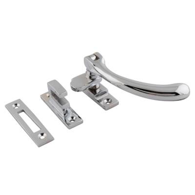 Cast Bulb End Casement Hook & Plate Fastener - Polished Chrome