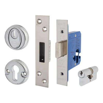 BS3621 Euro Deadlock & Double Cylinder - Case 65mm - Backset 44mm - Polished Stainless - Square For)