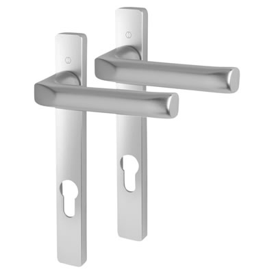 Hoppe - uPVC/Timber - Aluminium Multipoint Door Handle - 92mm Centres - Silver Aluminium