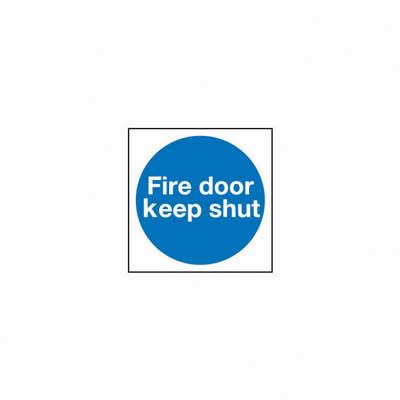 Fire Door Keep Shut - 100 x 100mm - Rigid Plastic - Pack 10)