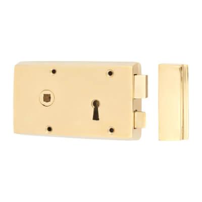 Rim Lock - Left Hand - Solid Brass