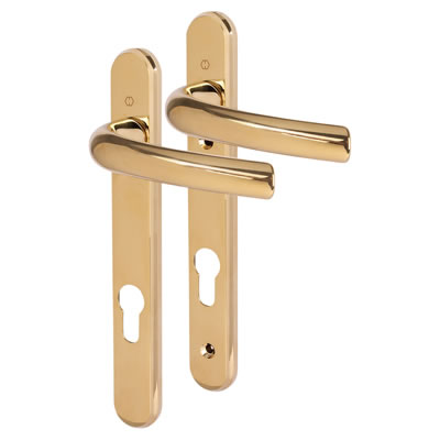 Hoppe Tokyo Multipoint Handle - uPVC/Timber - 92mm centres - 60-70mm door thickness - Polished Bras)