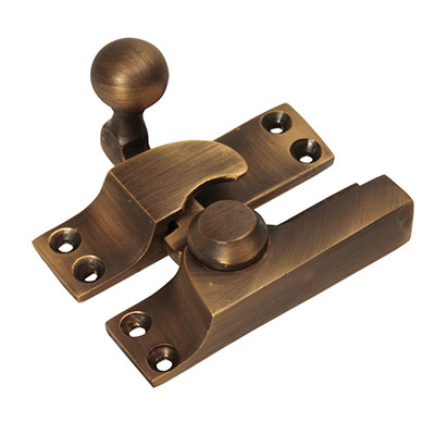 Quadrant Arm Sash Fastener - 69mm - Antique Brass