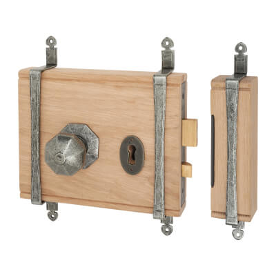 Olde Forge Oak Box Door Lock - Pewter Knob