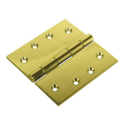 Double Phosphor Bronze Washered Hinge - 100 x 100 x 4mm - Polished Brass - Pair