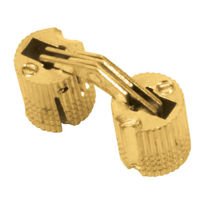 Concealed Rounded Cabinet Hinge - 10mm - Polished Brass - Pair