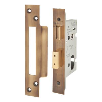 A-Spec Architectural Oval Sashlock - 65mm Case - 44mm Backset - Florentine Bronze