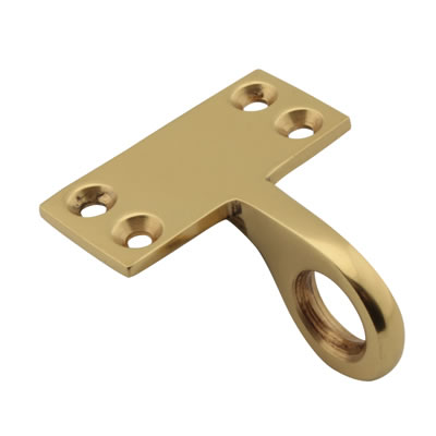 Top Rail Mounting Sash Ring Lift - 48 x 22mm - Polished Brass