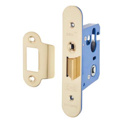 A-Spec Architectural Mortice Nightlatch - 68mm Case - 48mm Backset - Radius - PVD Brass