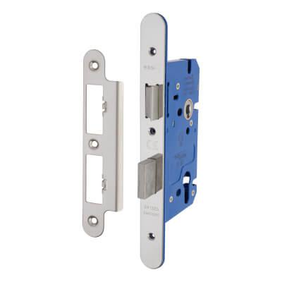 A-Spec Architectural DIN Euro Sashlock - 85mm Case - 60mm Backset - Radius - Polished Stainless)