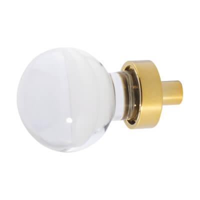 Aglio Globe Glass Cabinet Knob - 27mm - Polished Brass