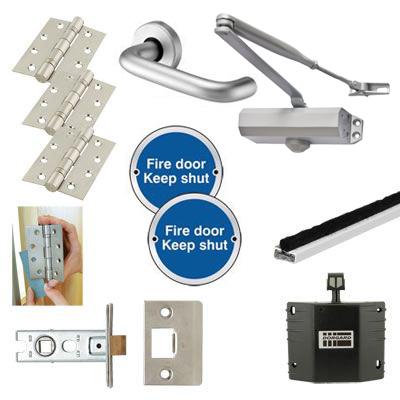 Light Duty Lever Door Handle on Rose Fire Door Kit - Hold Open - Latch - Aluminium