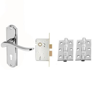 Aglio Rome Door Kit - Keyhole Lockset - Polished Chrome