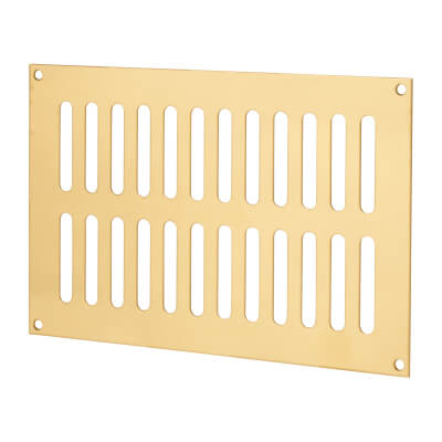 Plain Slotted Vent - 229 x 152mm - 8170mm2 Free Air Flow - Polished Brass