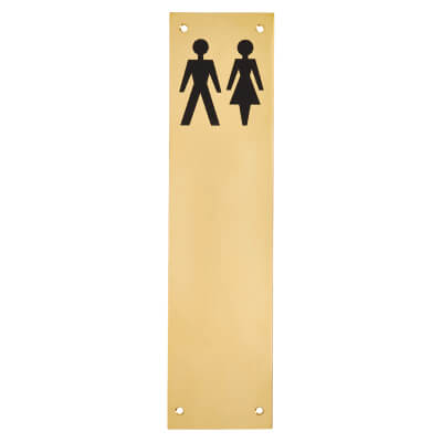Finger Plate - Unisex Toilet Sign - 300 x 75mm - Polished Brass