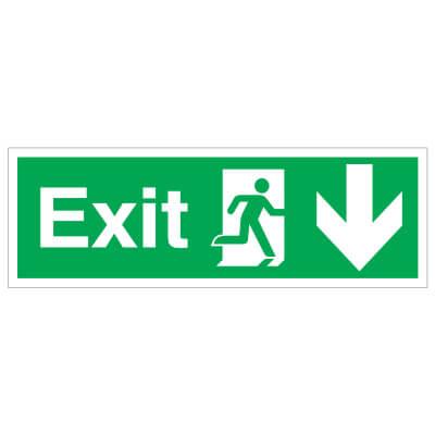 Exit Down - 150 x 450mm - Rigid Plastic)