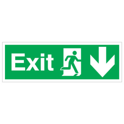 Exit Down - 150 x 450mm - Rigid Plastic