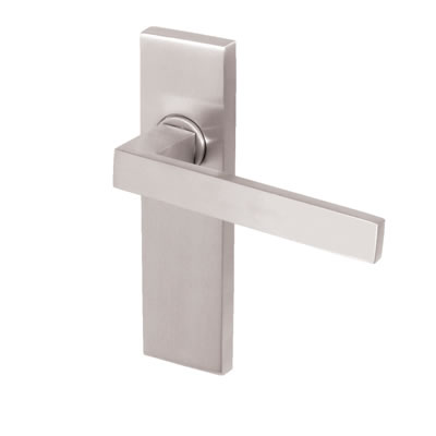 M Marcus Delta Door Handle - Latch Set - Satin Chrome