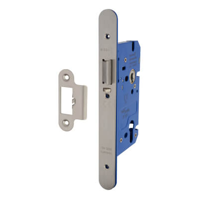 A-Spec Architectural DIN Euro Mortice Nightlatch - 85mm Case - 60mm Backset - Radius - Satin Stainl