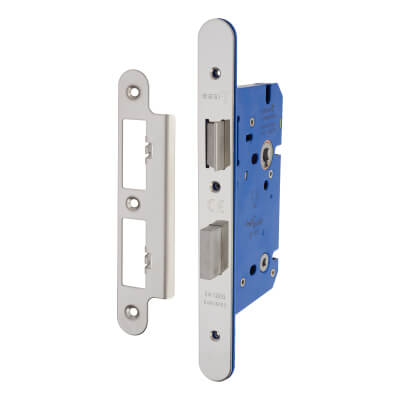 A-Spec Architectural DIN Bathroom Lock - 85mm Case - 60mm Backset - Radius - Polished Stainless