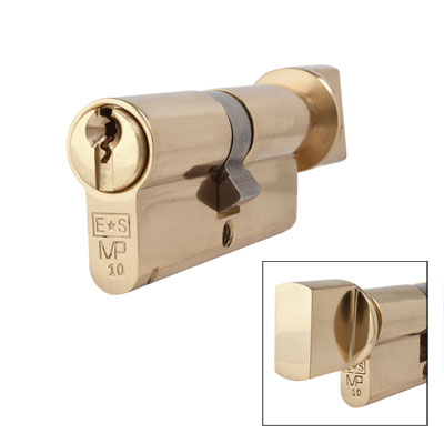Eurospec MP10 - Euro Cylinder and Turn - 35[k] + 35mm - Polished Brass  - Keyed to Differ