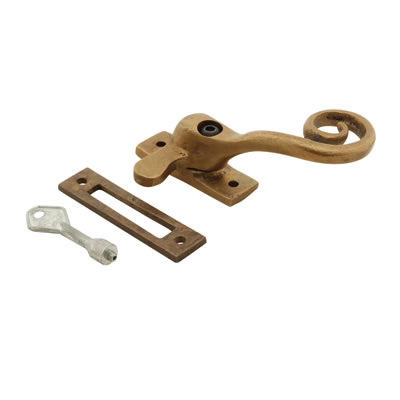 Louis Fraser Locking Curly Tail Window Fastener - Right Hand - Oil Rubbed Bronze