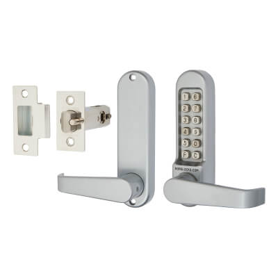 Borg BL5401 Code Operated Lock with Flat Bar Lever Handles with Latch - Grey)